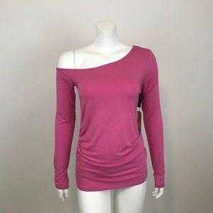 Halogen Pink One Shoulder Knit Top Shirt M